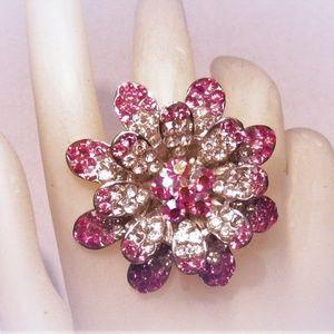 Huge Rhinestone Ombre Pink Flower Ring
